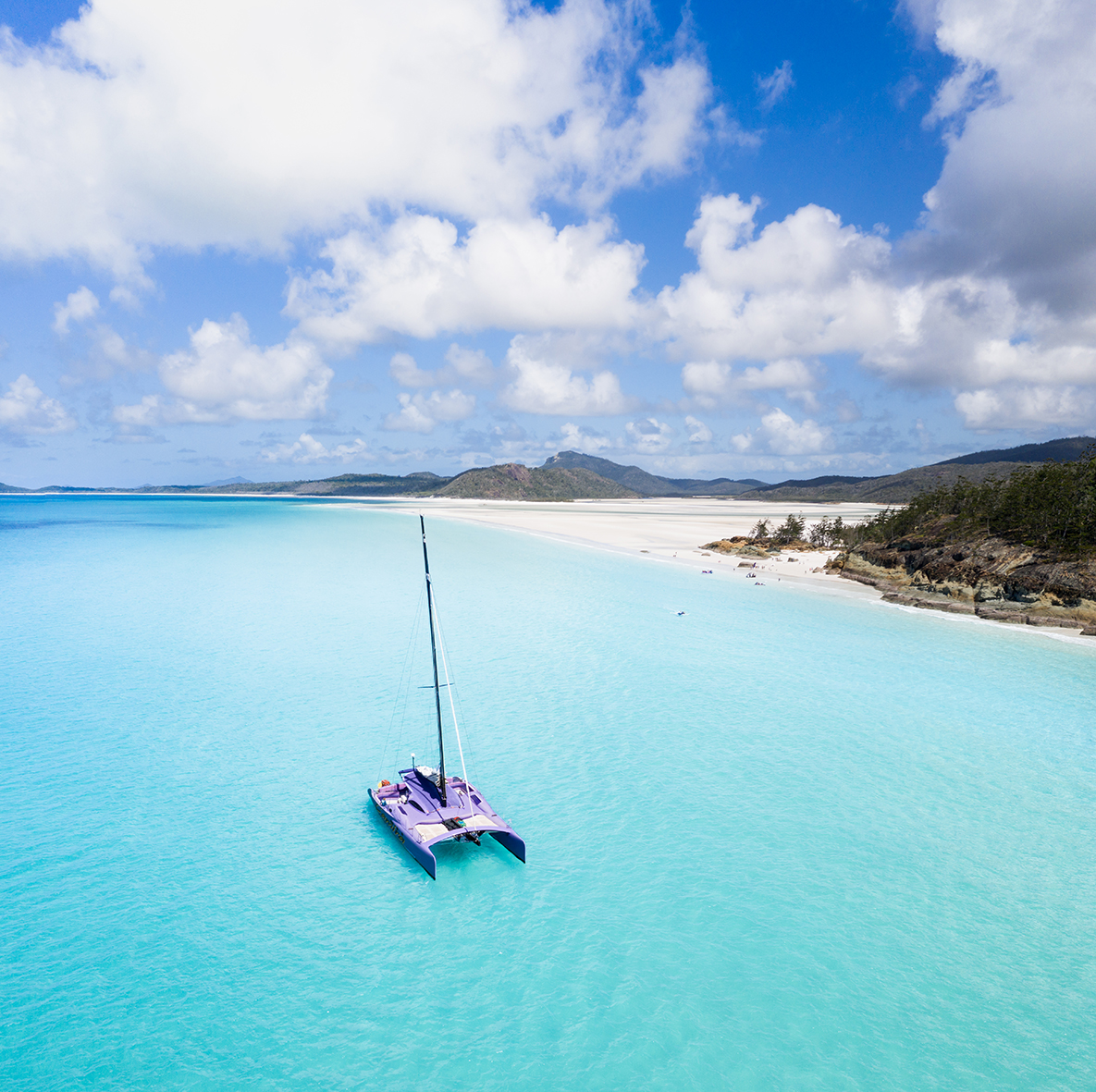Experience the wonders of the Whitsundays on this full day cruise on board Camira – our big purple catamaran! Sail through the azure blue waters of the Whitsunday Islands, walk to Hill Inlet, snorkel the inner reef and enjoy a delicious BBQ lunch.