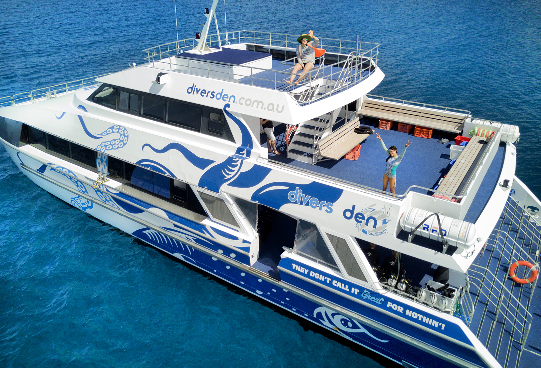 AquaQuest is a brand new custom built luxury dive and snorkel vessel being introduced to Port Douglas. She is fully equipped with the most modern and state of the art facilities including Nitrox. As the newest vessel in Port Douglas she will give passengers an unrivaled comfort with the best experience available as we visit some of the best dive and snorkel locations on the Outer Great Barrier Reef at  Agincourt, Opal and St Crispin's Reefs.