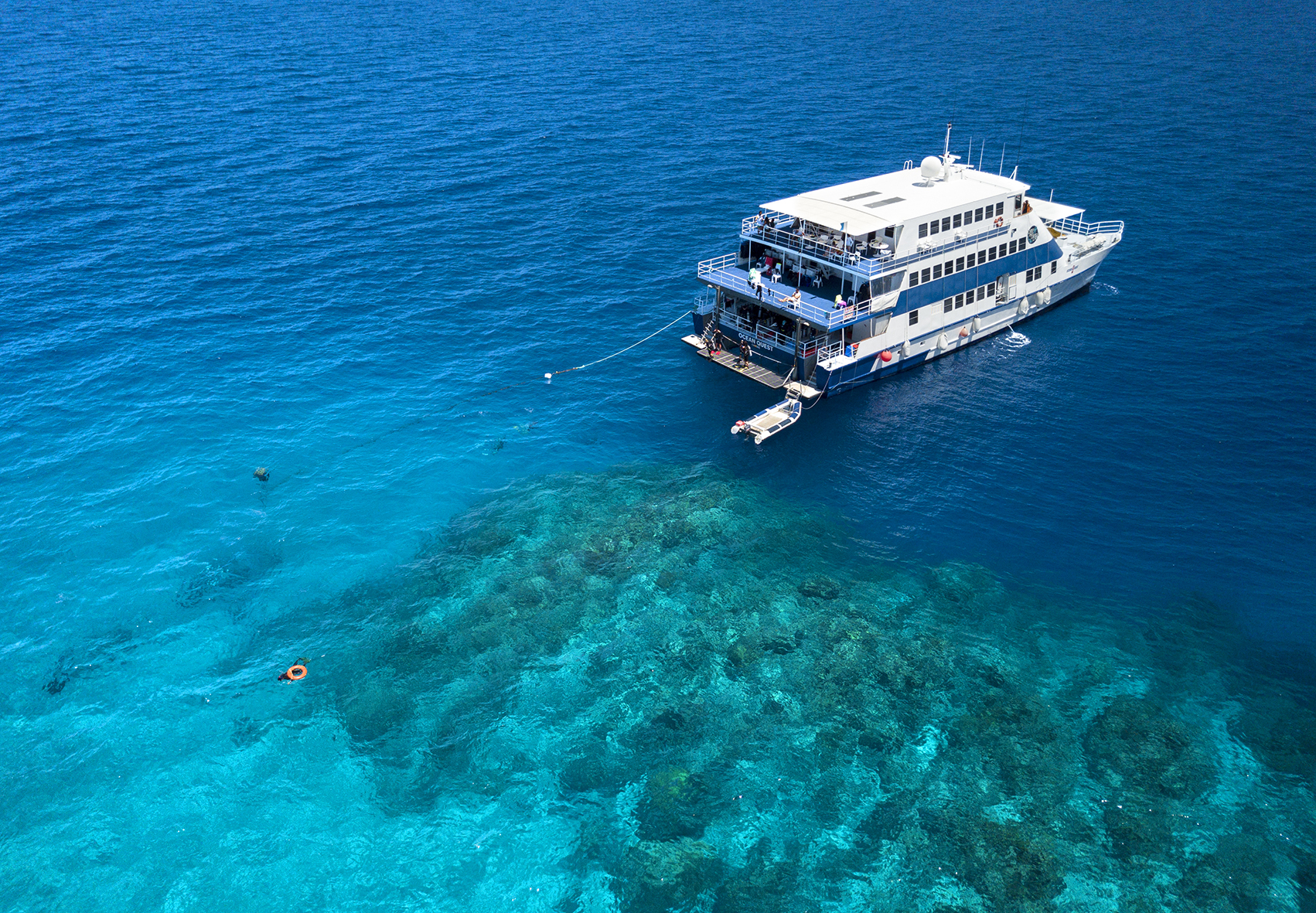 OceanQuest Liveaboard Trips to the Outer Great Barrier Reef from Cairns Our Liveaboard OceanQuest caters to Snorkelers, Certified and Introductory Divers
